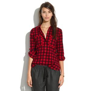 🍁 Madewell Flannel Popover in Buffalo Plaid